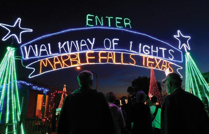 Marble Falls Walkway of Lights – Is On !!